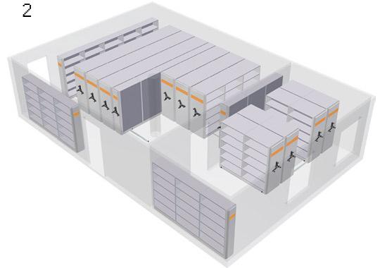 regały przesuwne Przykładowa zabudowa regałów przesuwnych w 3D